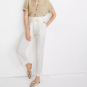 [NWT] Madewell Linen-Blend Paperbag Pants in White